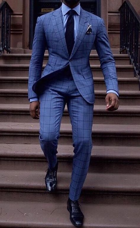 Light blue window panel suit is rare as anything but looks pretty great Best Suits For Men, Cool Suits, Mens Fashion Suits, Mens Suits, Terno Slim Fit, Classy Suits, Mode Costume, Designer Suits For Men, Stylish Mens Outfits