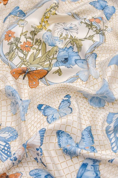Vintage Hermés Pastel Butterfly Square Scarf from Sweet & Spark.