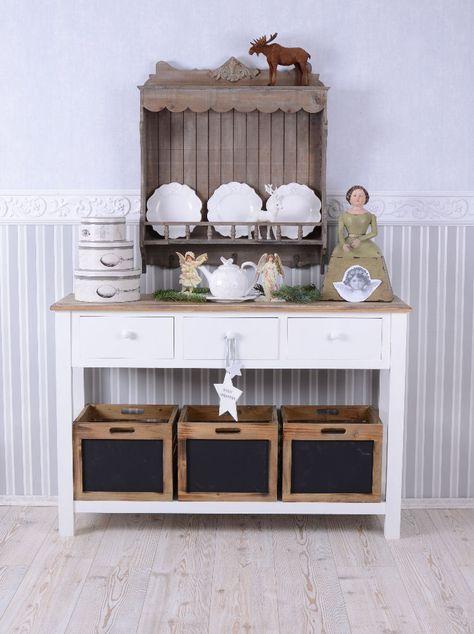 Vintage Küchenregal Tellerboard Tellerregal Shabby Chic Wandregal Antik Stil