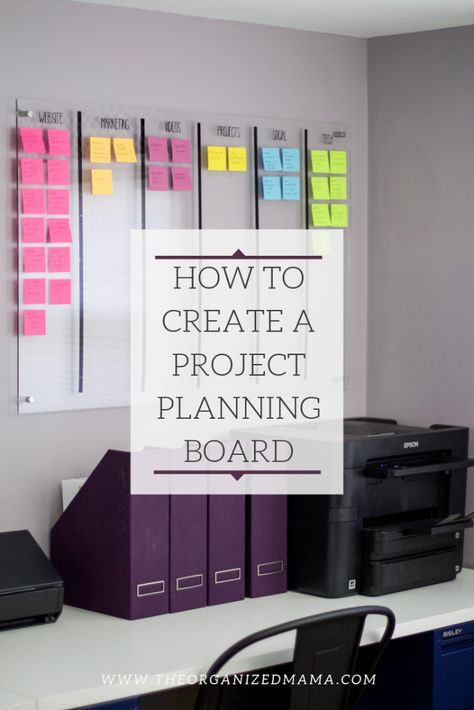 Learn tips on how to create a project planning board like the one pictured which is acrylic boards broken into categories with colorful post it notes for each individual task for each category. Office Organization At Work, Organization Hacks, Organizing Life, Organising, Organizing Baby Clothes, Home Business Organization, Project Life Organization, Organized Office, Organizing Paperwork