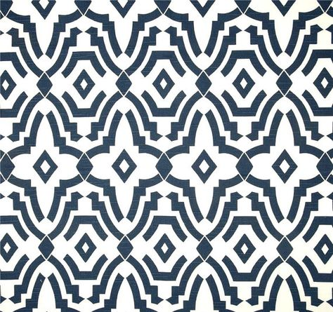 Designer Tribal Navy Blue Cotton Drapery Or Upholstery Fabric By The Yard Contemporary Home Decor Modern Geometric B175