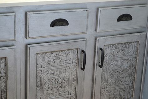 Faux Tin Tile Cabinets ---