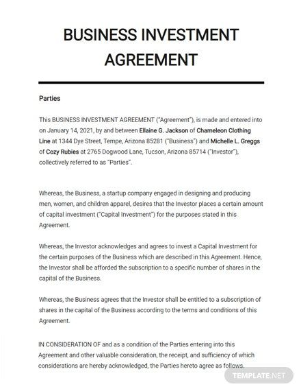 Business Investment Agreement Template Google Docs Word Apple Pages Pdf Template Net Business Investment Investing Business