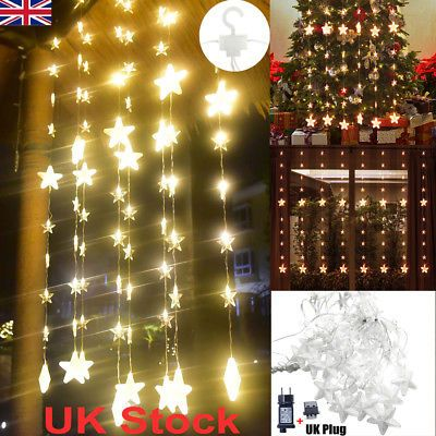 5m Led Curtain Fairy Lights Stars Window Lamp Wedding Indoor