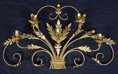 Applique con 5 luci lampade led oro ferro battuto antico rustico