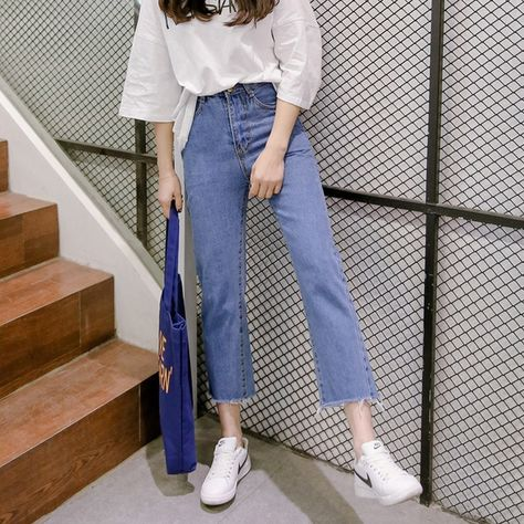33.0US $  Fashion Streetwear High Waist Korean Jeans Straight Leg Pants 2020 New Summer Casual Style Loose Women Pants Free Shipping Jeans    - AliExpress