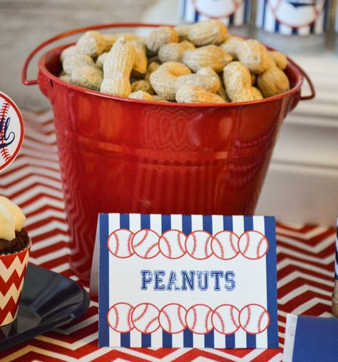 Peanuts at a Baseball Birthday Party!  See more party ideas at CatchMyParty.com!