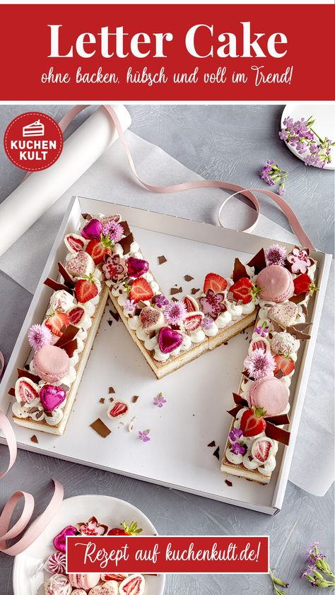 """Der Geburtstags-Kuchen-Trend: Letter Cake oder auch Buchstaben-Kuchen. Wir zeigen wie man ihn schnell und einfach macht, nach dem Motto """"Clever Pimpen statt lange Backen"""". #Lettercake #Geburtstag #Kuchen #Buchstabenkuchen #ohnebacken"""