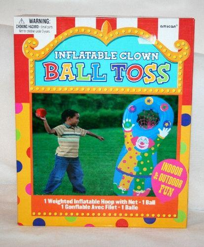 Canestro gonfiabile con peso alla base deco Clown completo di pallina in stoffa e sabbia. Gioco e intrattenimento per bambini a casa o alle Vostre feste. Disponibile da C&C Creations Store