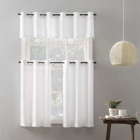 Mainstays Elevated Solid 3 Piece Kitchen Curtain Set 54 X 36 White Walmart Com Kitchen Curtains Dining Room Curtains Curtains