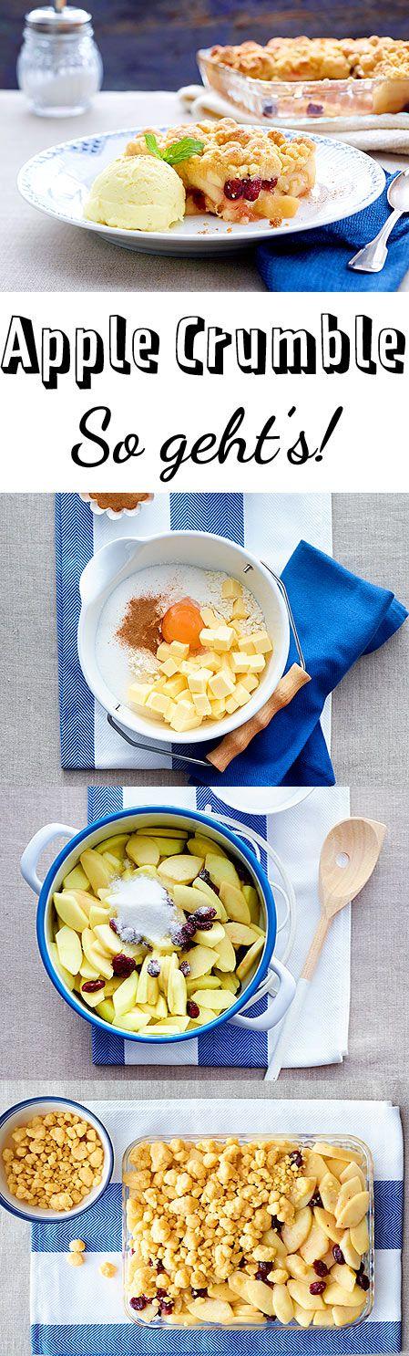Very british: Saftige Früchte mit knusprigen Streuseln oben drauf. So gut!