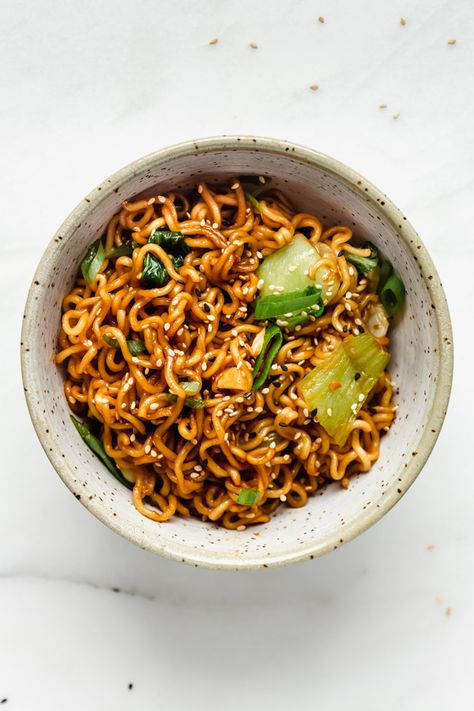 This Ramen Noodle Stir Fry takes the easy Asian noodles out of their normal soup context for a delicious dish filled with fresh green veggies and a rich soy flavour! # Food and Drink vegetarian Ramen Noodle Stir Fry Stir Fry Ramen Noodles, Asian Noodles, Fried Ramen, Tofu Noodles, Ramen Noodle Recipes, Easy Ramen Recipes, Spicy Ramen Recipe, Healthy Ramen Noodles, Pad Thai Noodles