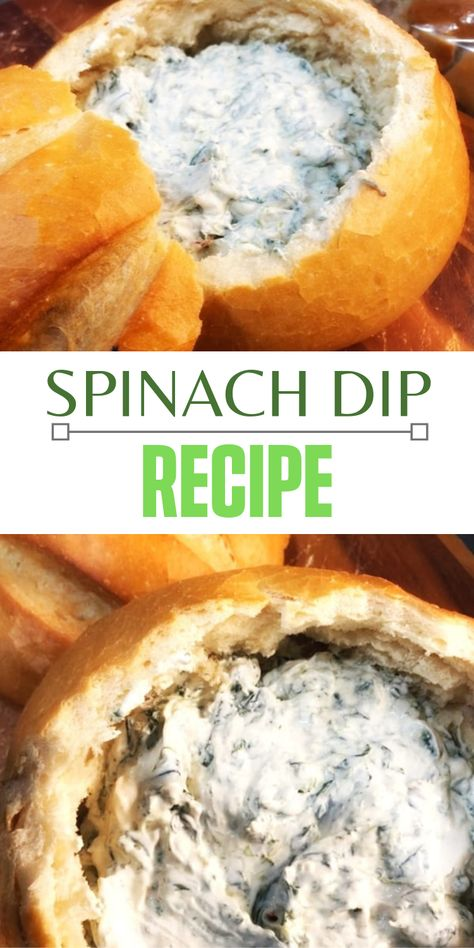 This is one of our favorite holiday appetizer ideas. It makes for such a tasty tip and serving the dip in a bread bowl is so festive. This recipe is great all year. #appetizer #spinach #diprecipe #organizedisland