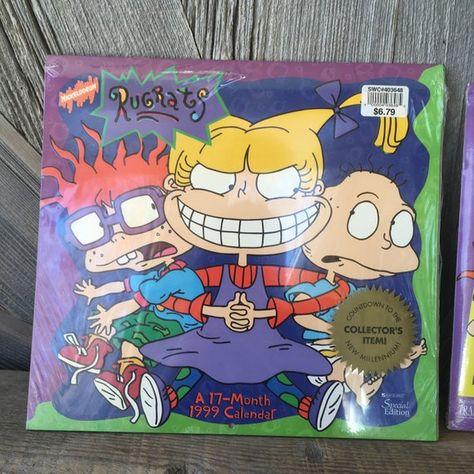 2 Vintage Rugrats 1999 Calendars 90s Toy Nickelodeon Baby Cartoon