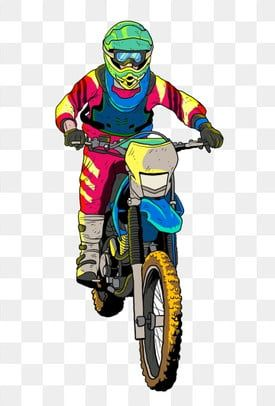 Motorcycle Racer Hand Drawn Racer Motocross Rider Knight Cartoon