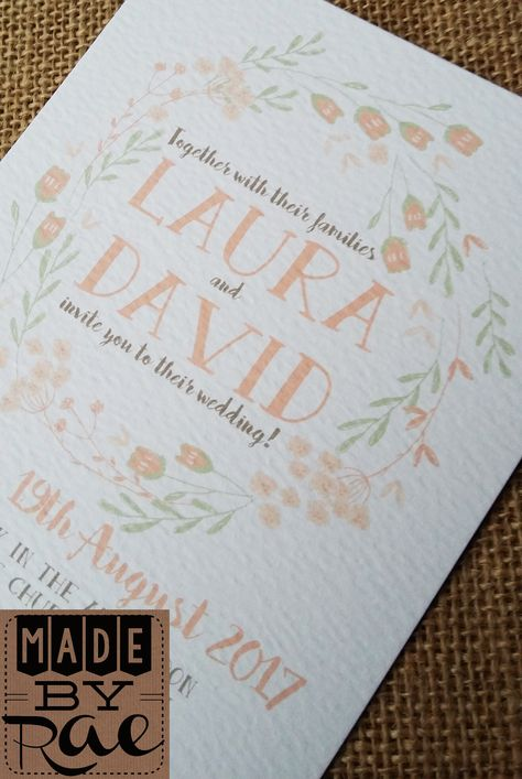 SAMPLE Personalised Wedding Invites Rustic Floral day//evening envelopes inc.