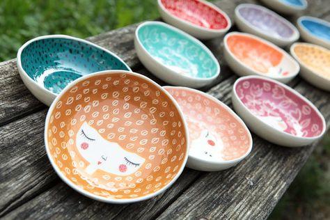 Conjunto de 4 -15% - tazones de fuente de cerámica en colores de su elección - servir tazones vajilla - placa de cara de cerámica - de cerámica - regalo boda - a ORD