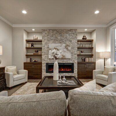 Orren Ellis Lesly Wall Mounted Electric Fireplace Wayfair Ca In 2020 Living Room Grey Brown Living Room Built In Shelves Living Room