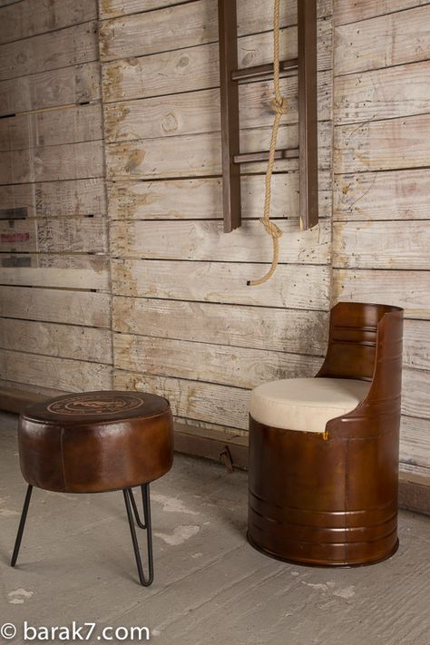 Industrial Drum Chair With Bronze Finish Fauteuil Industriel Mobilier De Salon Roulette Pour Meuble