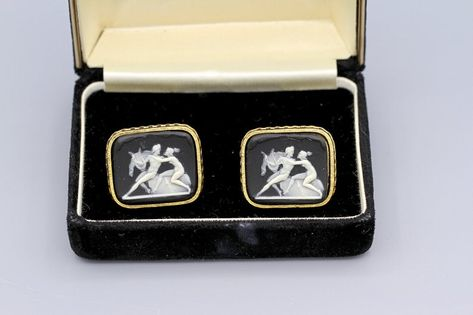 Unique Geometric Pink and Black Rectangular Cufflinks in Silver Setting with Presentation Box