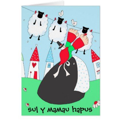 Welsh Lady Mother 39 S Day Card Sul Y Mamau Hapus Traditional Gift Idea Diy Unique Welsh Lady Cards Custom Holiday Card