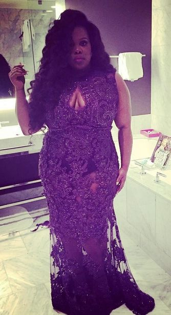 """Amber Riley - this in a champagne color and a longer """"slip"""" underneath"""