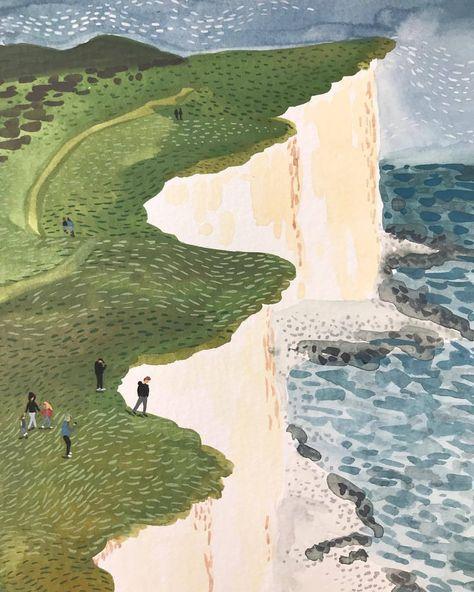 Ocean Illustration, Landscape Illustration, Penguin Books, Guache, Gouache Painting, Art Inspo, Watercolor Art, Design Art, Art Drawings
