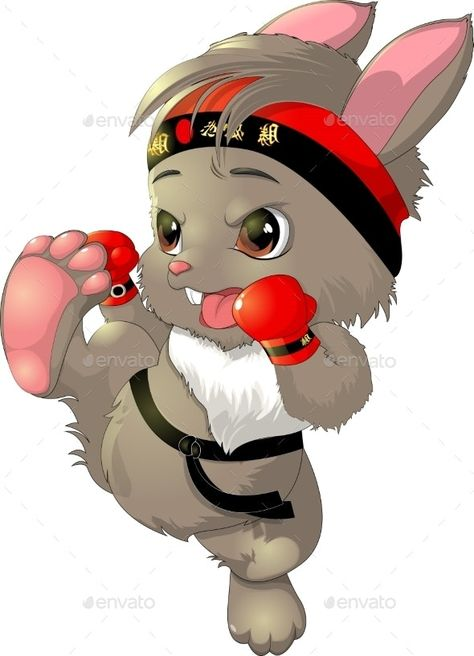 The Beautiful Karate Bunny On a White Background by Andryuha1981   GraphicRiver