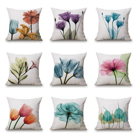 18x18/'/' Ink Painting Flowers Cotton Linen Pillow Case Tulips Sofa Cushion Covers