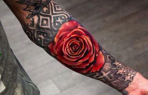 Rose tattoos are incredibly popular, partly because of their versatility. Rose tattoos for boys can include traditional red designs or