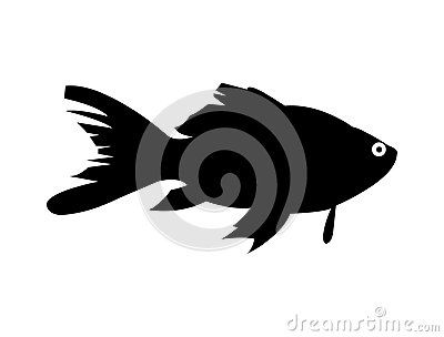 A Simple Black And Minimal Silhouette Of A Gold Fish Common Pet Fish Silhouette Goldfish Silhouette