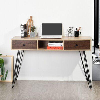 Newlyn Oak Small Desk Oak Laptop Desk Light Oak Hall Table with Drawer