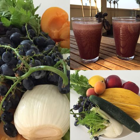 Morning breakfast with centrifugal fruit and vegetables.