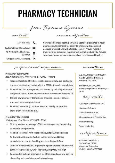 Resume Example With Headshot Photo Cover Letter 1 Page Word Resume Design Diy Cv Example In 2020 Medical Assistant Resume Pharmacy Technician Study Pharmacy Tech