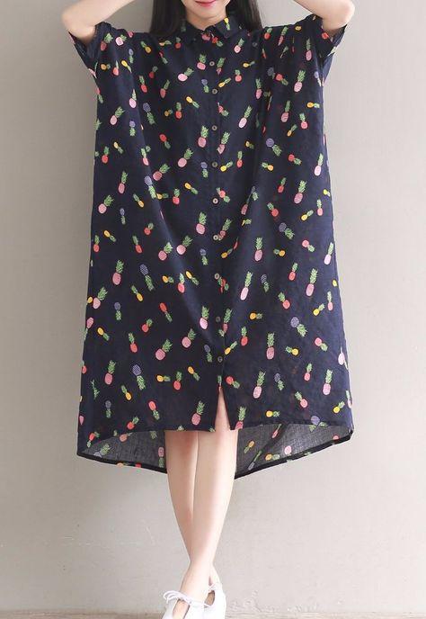 825b91058092 Women loose fit over plus size bat sleeve pineapple fruit pattern tunic  dress #Unbranded #dress #Casual