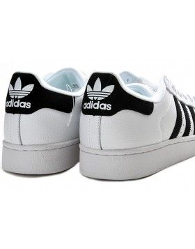 56 83 Hommes Adidas Originals Superstar 2 Baskets En Cuir Blanc Noir