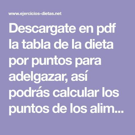 dietas de los puntos para bajar de peso