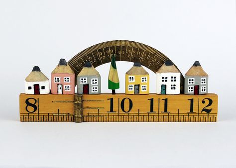 Miniature Pencil Houses. Wooden Street on Vintage Ruler with Brass Protractor. £57.00 Emma Verner Designs