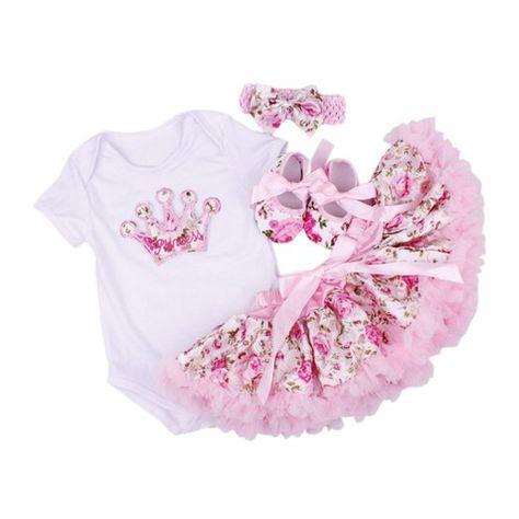 DAYAN 4PCS neonate Body skirt + tutu +scarpa + Copricapo vestito dal tutu maniche corte che coprono l'insieme del battesimo cerimonia nuziale del bambino color rosa size S