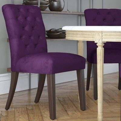 Tufted Dining Chair Velvet Aubergine Skyline Furniture With