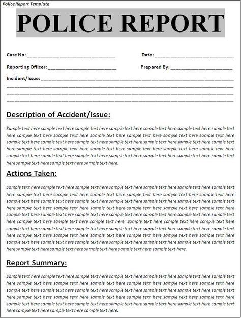Printable Sample Police Report Template Form Police Report Report Template Report Writing Format