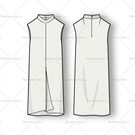 Vector fashion illustration of a women's mock neck dress with center back zipper and center front seam with slit.