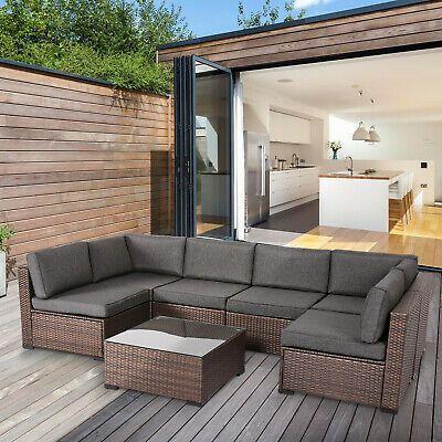 Kinbor 7pcs Fashion Rattan Wicker Sofa Furniture Set Will Perfect