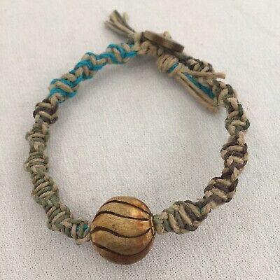 Handmade Hemp Charm Bracelet Love Hippie