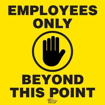 Stop the spread of viruses in the workplace or business by properly separating workers or shoppers via our social distancing floor signs. One of the first safety precautions is making sure buildings or certain areas are employees only. Using our COVID-19 precaution floor signs you can tell customers, visitors, or other pedestrians this area is employees only. Simply peel and stick each floor sign in the certain area to help prevent the spread of viruses. This floor sign will help keep shoppers,