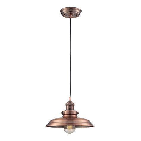 Titan Lighting 1 Light Antique Copper Mini Pendant With