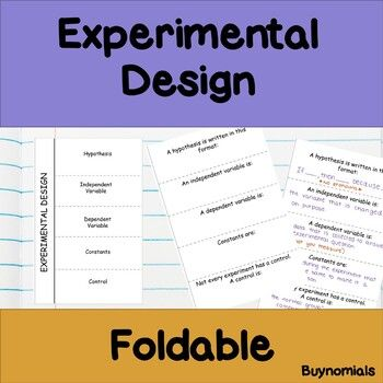 Experimental Design Foldable Great For Notes Or Interactive Notebook For Basics Of Experiments Answer Key Inclu Foldables Interactive Notebooks Math Resources