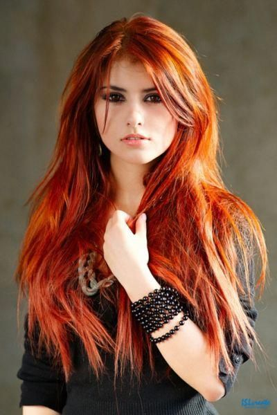 Rot Orange Haar Lange Glatte Frisur Mittelscheitel Heftig Frisur Glatte Frisu Red Haired Beauty Red Orange Hair Long Red Hair
