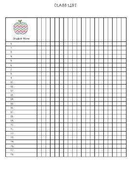 Freebie Class List Or Classroom Checklist Class List Classroom