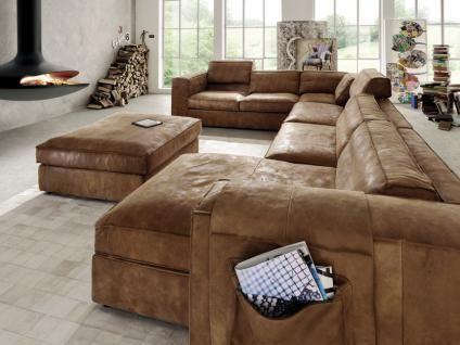 Eckgarnitur Mit Hocker U Form Ecksofa Wohnlandschaft Couch Leder